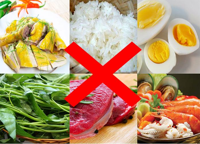 thực phẩm không nên sử dụng